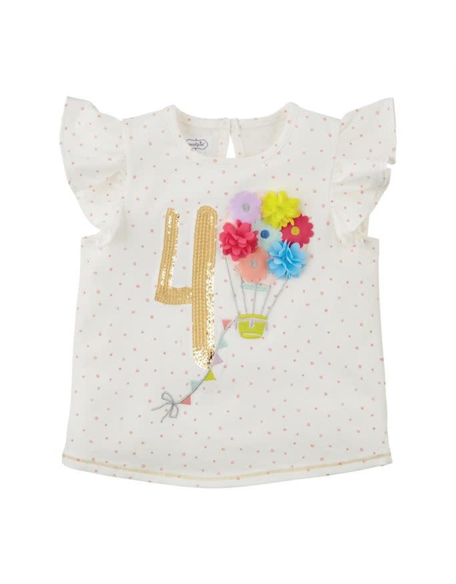 Mudpie Mud Pie- Four Birthday Shirt 4T
