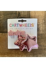 Cartwheels- Pink Glitter Star Clip Set
