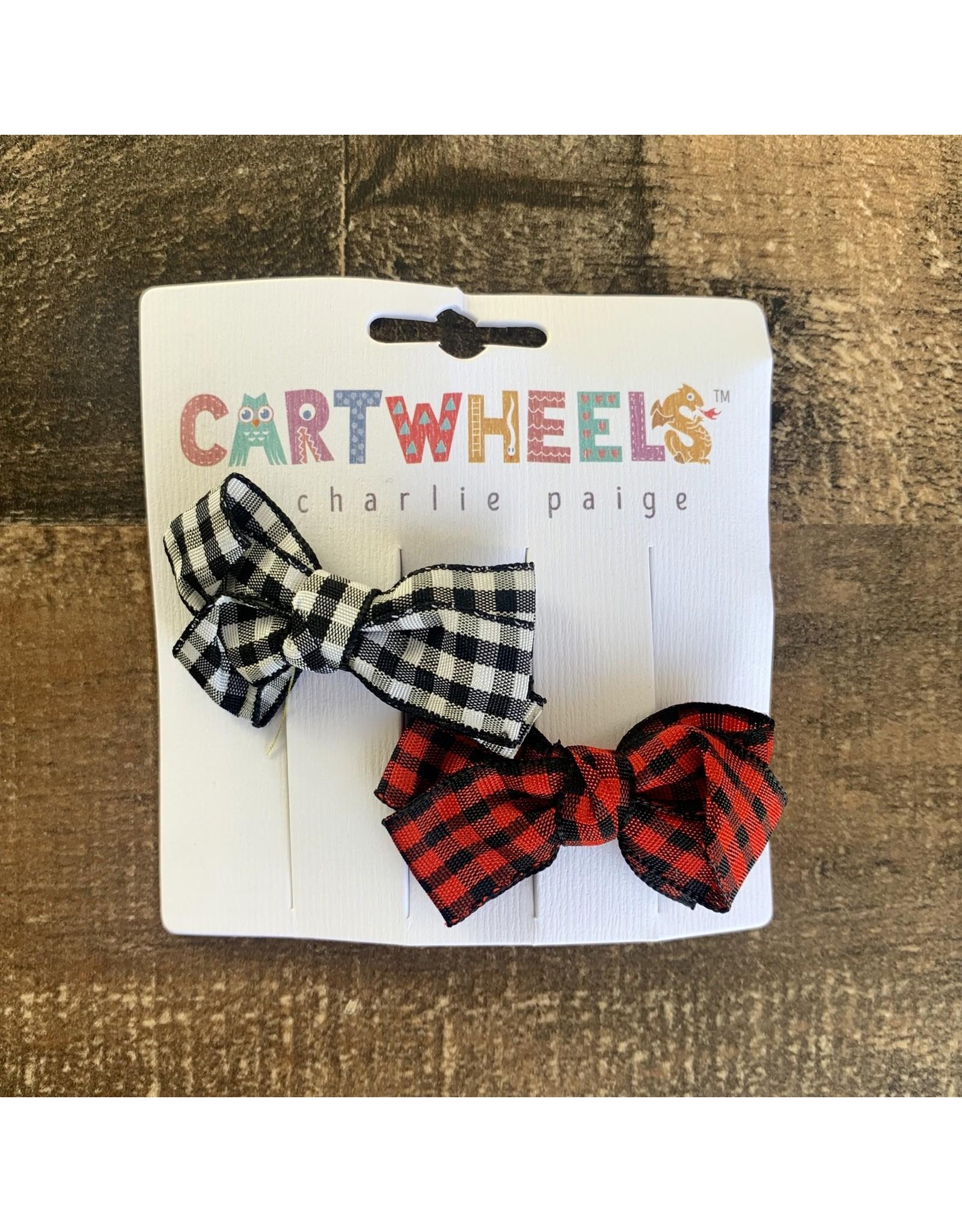 Cartwheels- Plaid Bow Clip Set