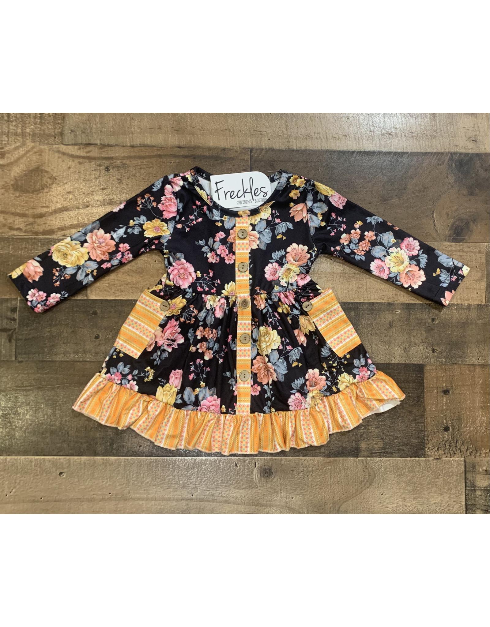 Black Button Floral Dress