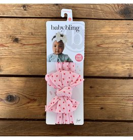 Baby Bling Baby Bling - Dang Enormous Bow Headband Pink w/Red Dot