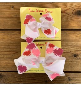 Two Sisters- Valentine's Day Bow Lacy Heart White