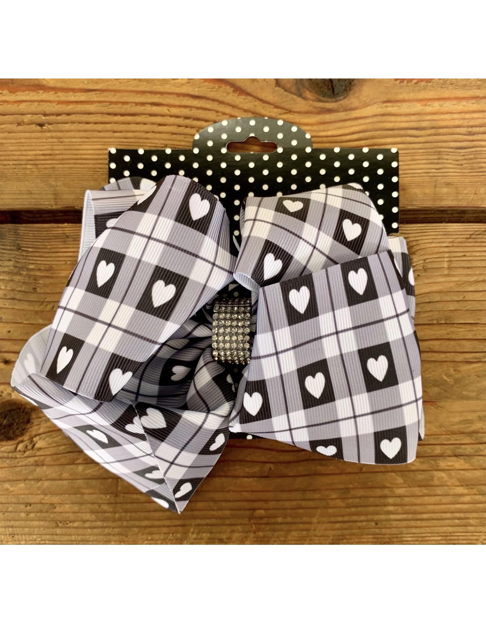 "7.5"" Black & White Heart Print Knot Bow"