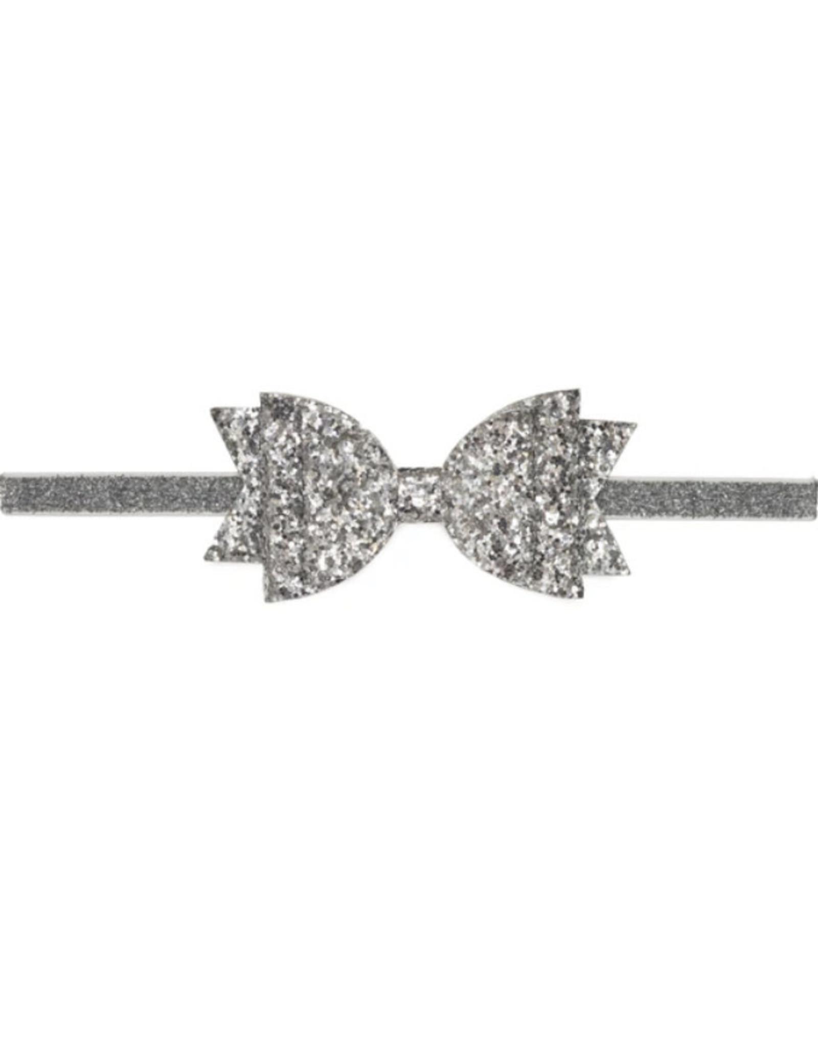 Sweet Wink- Silver Glitter Bow Soft Headband