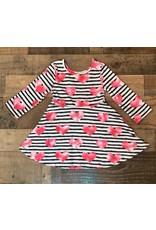 Black & White Stripe Hot Pink Heart Dress