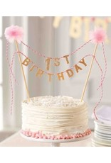 Mudpie Mud Pie- Pink Cake Topper & Banner Set