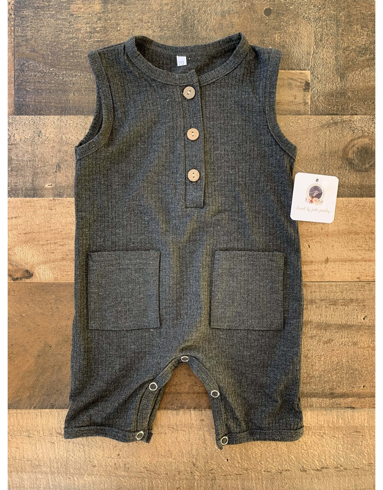 loved by Jade Presley loved by jade presley- Ribbed Tank Button Romper: Charcoal