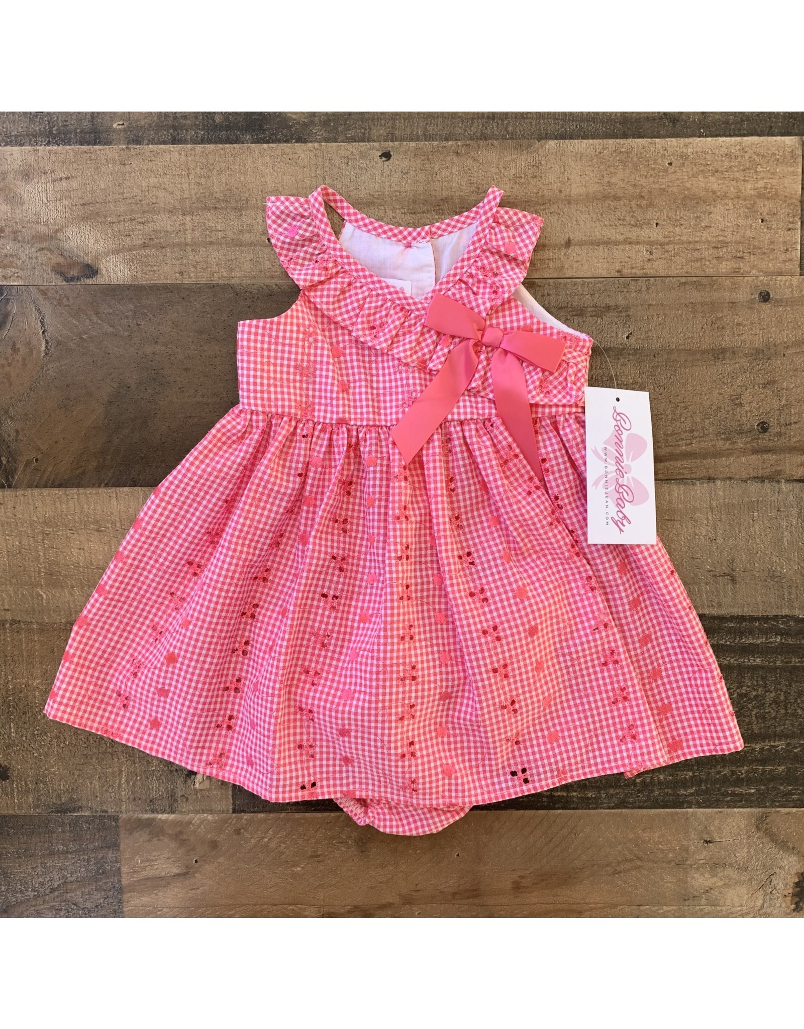 Bonnie  Jean Bonnie Jean- Embroidered Pink Check Sundress
