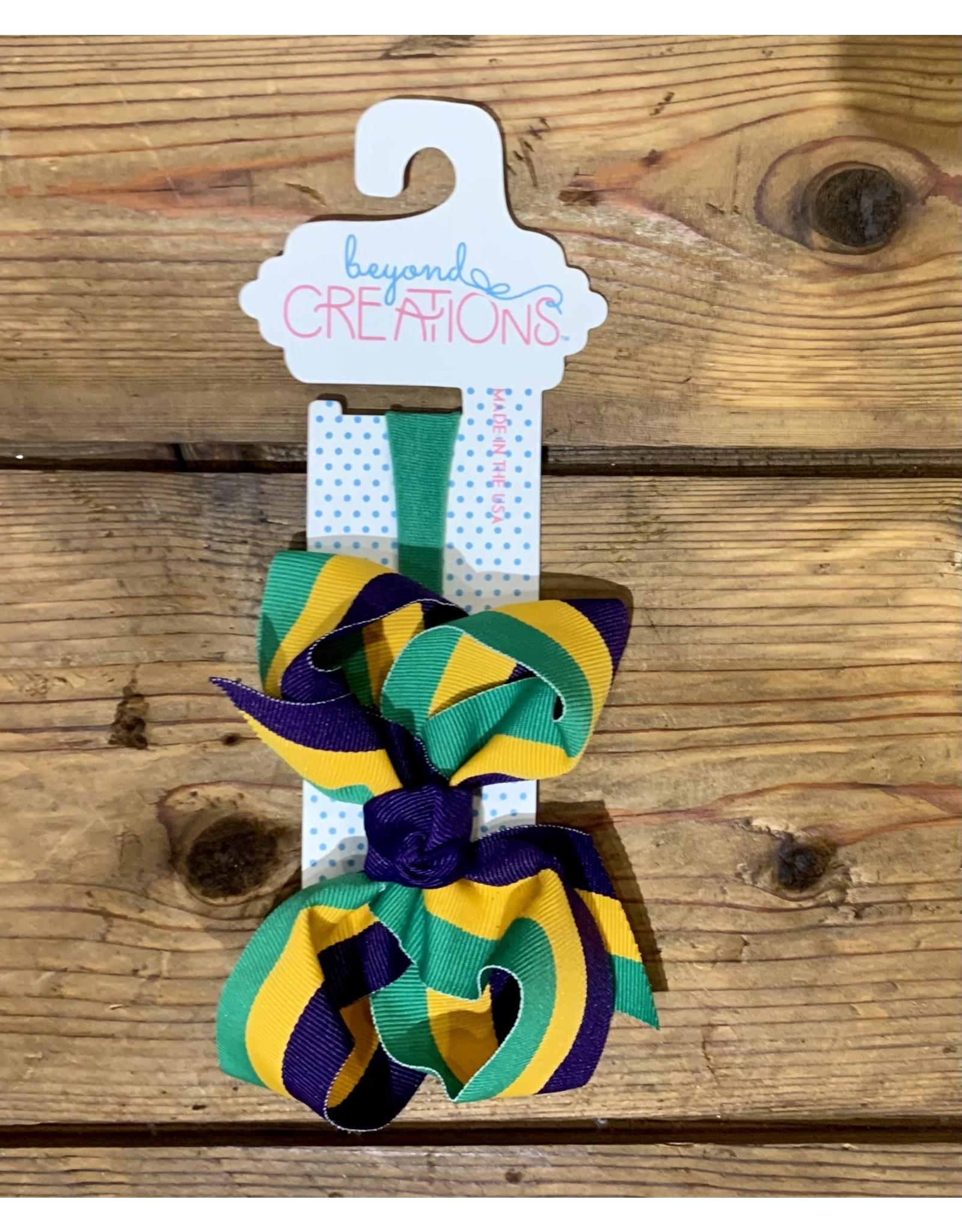 "Beyond Creations Beyond Creations- 4.5"" Lg. Stripe Mardi Gras Knot Bow on 1/4"" Headband"