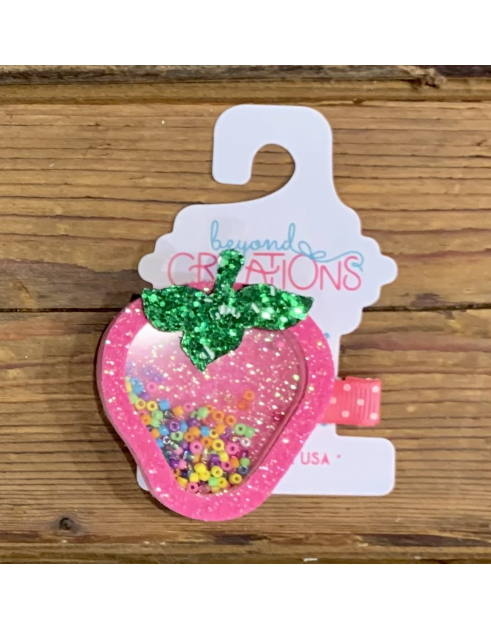 Beyond Creations BC Shaker Pink Strawberry Glitter Clip