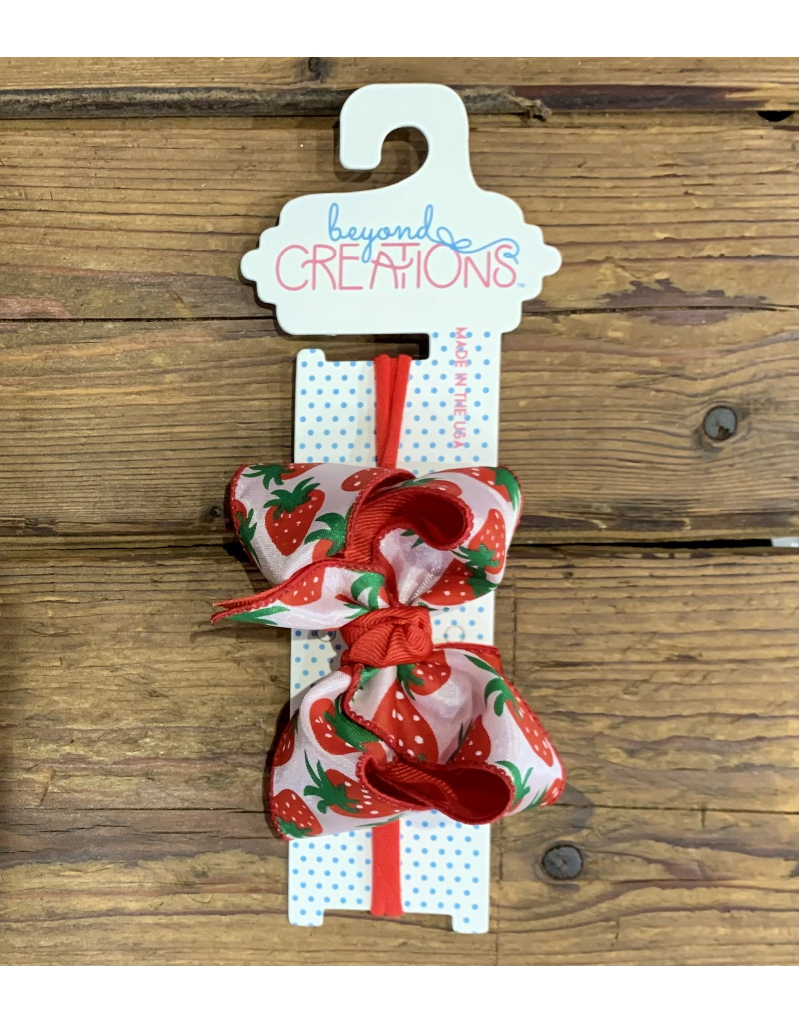"""Beyond Creations BC 4.5"""" LG Speciality Bow on 1.4"""" Headband Red Strawberry"""