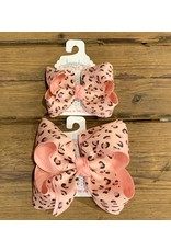Beyond Creations Beyond Creations- Pink/Pink Leopard Layered Knot Bow