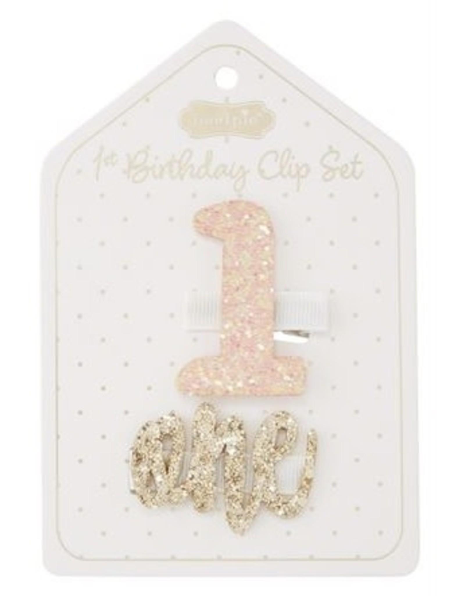 Mudpie Mud Pie- Light Pink 1st Birthday Clip Set