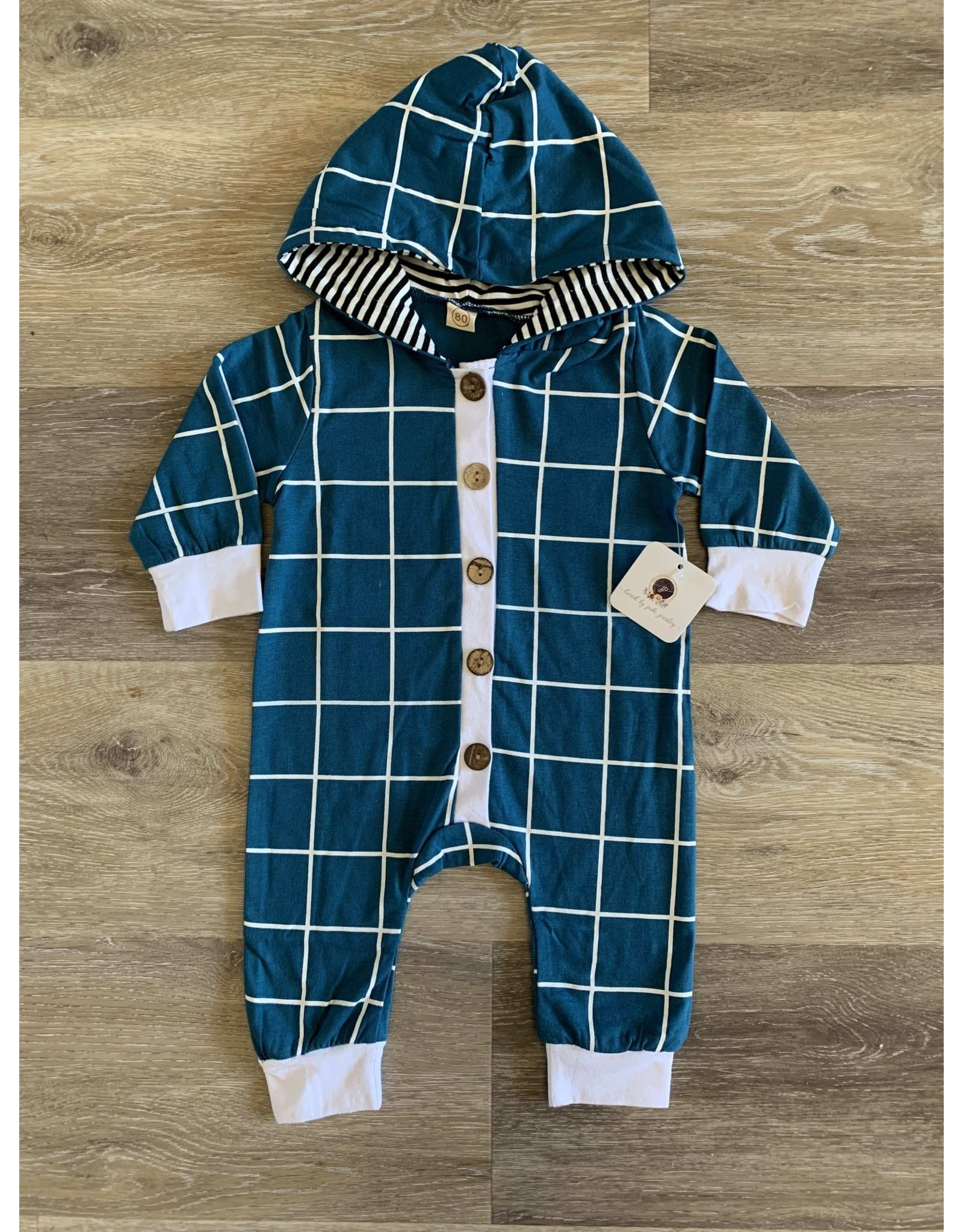 loved by Jade Presley loved by jade presley- Blue Check Button Hooded Coverall