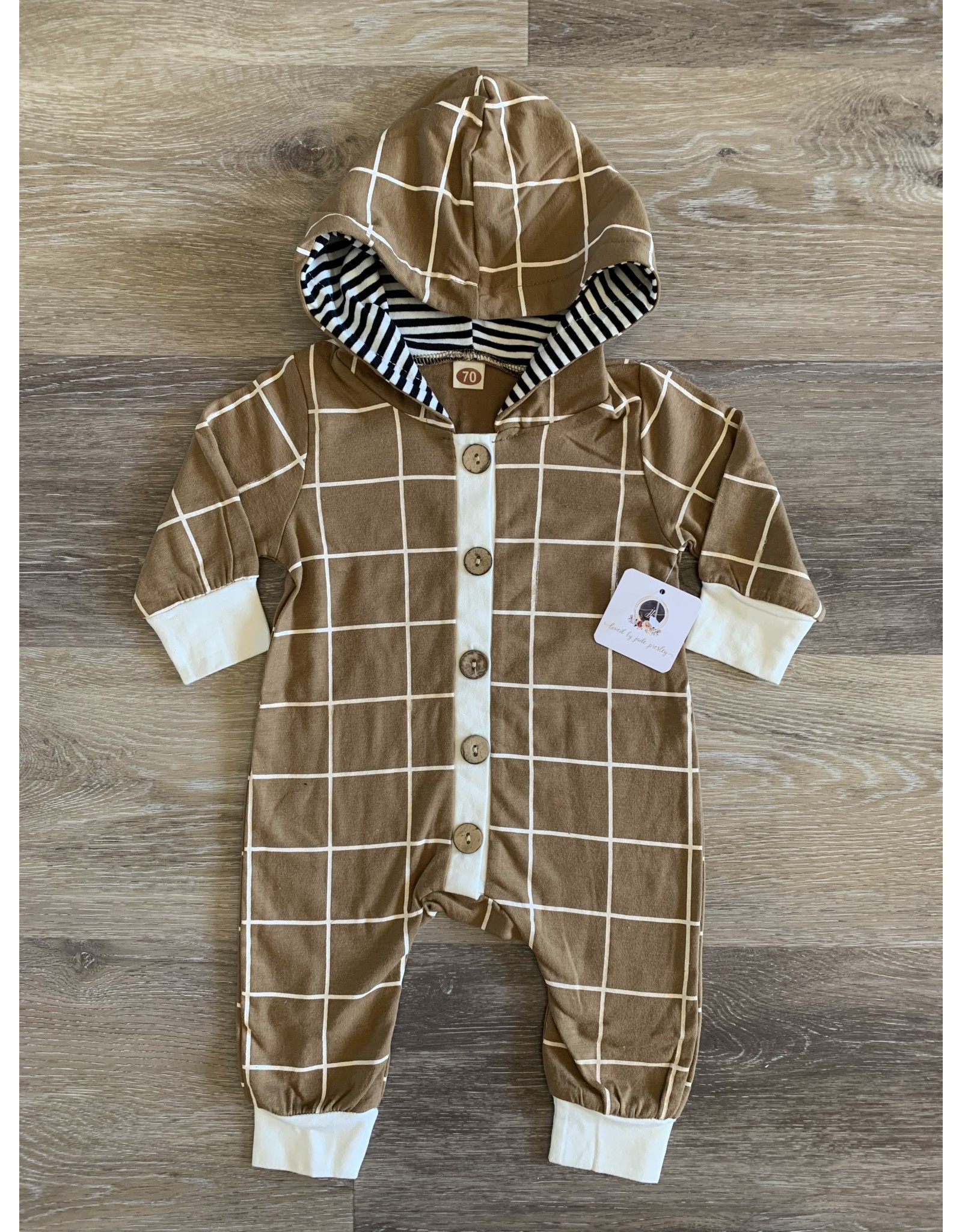loved by Jade Presley loved by jade presley- Tan Check Button Hooded Coverall