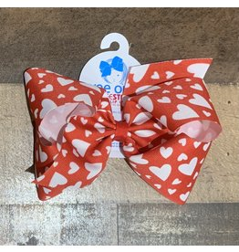Wee Ones - King White Hearts on Red Print Bow