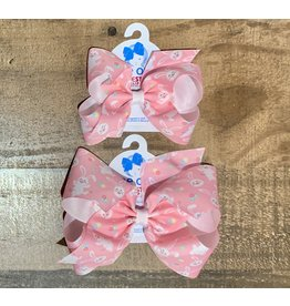 Wee Ones - Pink Easter Bunny Print Bow