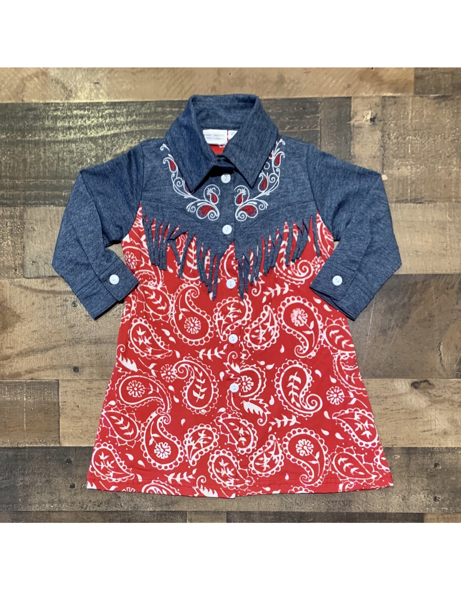 Koko Nut- Red Paisley Button Front Fringe Dress
