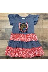 Koko-nut Kids- Horseshoe Applique Patch Dress