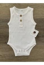 loved by Jade Presley loved by jade presley- Ribbed Basic Button Tank Bodysuit: White