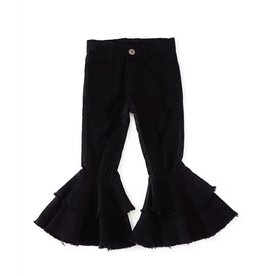 Black Distressed Bell Bottoms