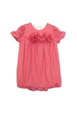 Isobella & Chloe Isobella & Chloe- Pink Flower Stripe Knit Romper