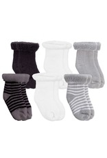 Kushies- Terry Black/White/Gray 0-3M 6pk Socks