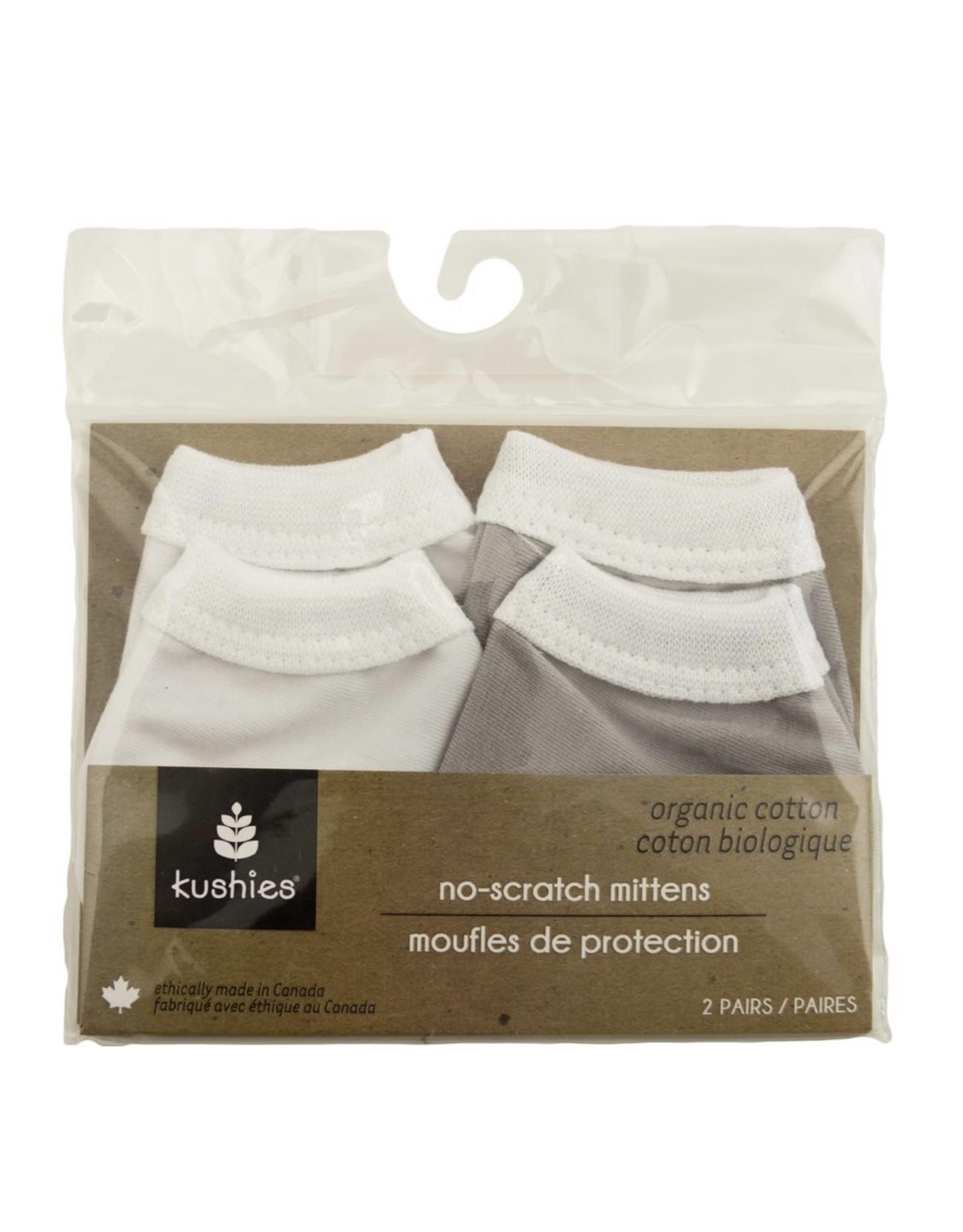 Kushies- Organic Jersey Mittens: Grey