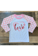 Jane Marie- Love Cotton Candy/White 3/4 Sleeve Shirt