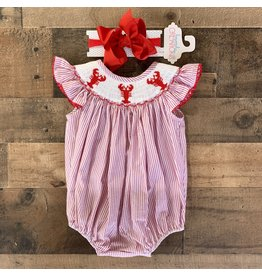 Betti Terrell- Lobster Smocked Red Stripe Smocked Angel Wing Bubble