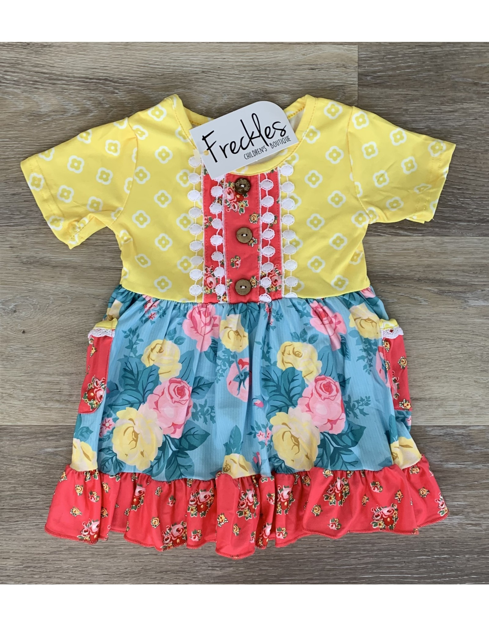 Floral Pocket Ruffle Dress
