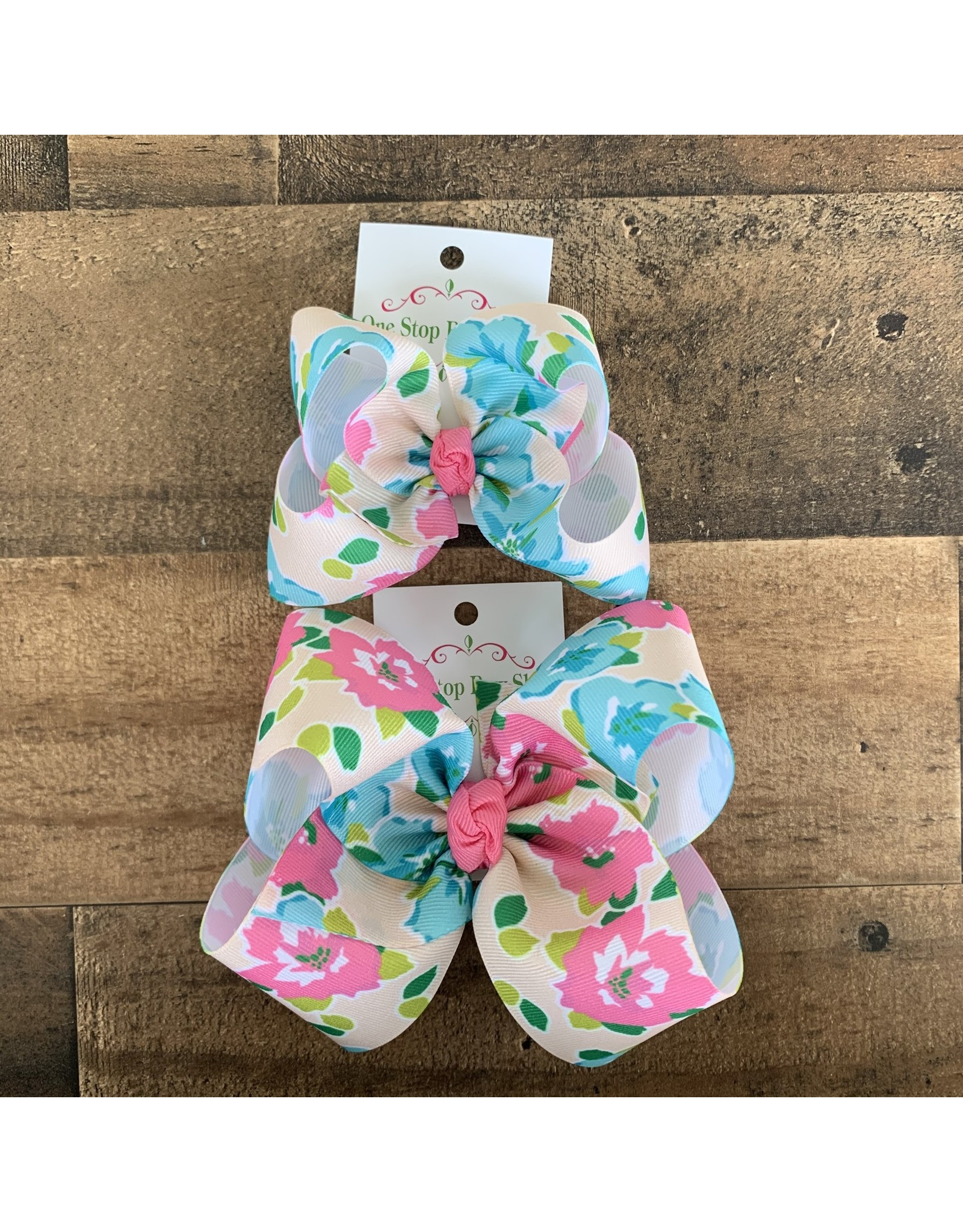 One Stop- Aqua Floral Knot Bow