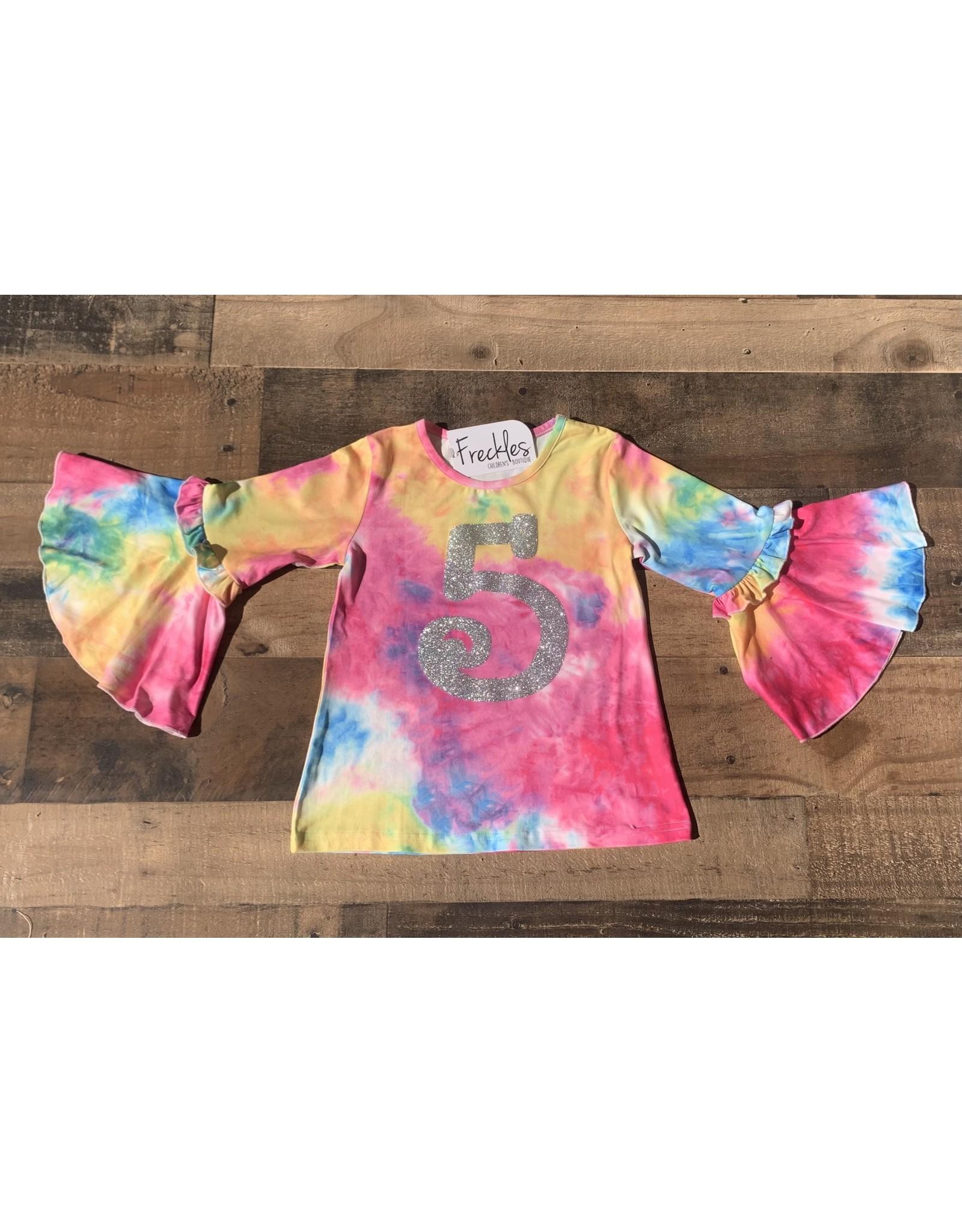 "Tie Dye ""5"" Bell Sleeve Shirt (size 5)"