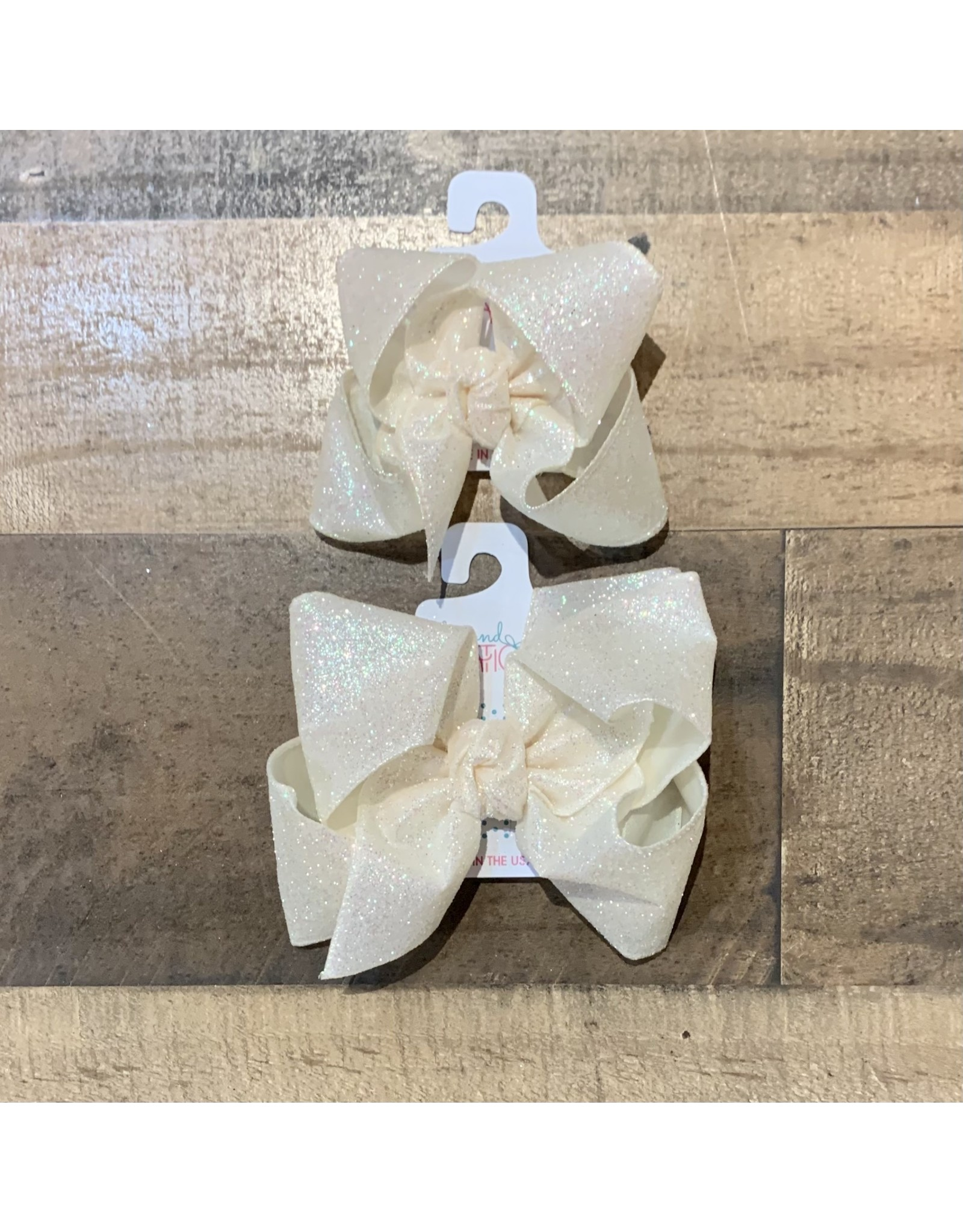 Beyond Creations Beyond Creations- Antique White Glitter Metallic Knot Bow
