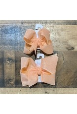 Beyond Creations Beyond Creations- Light Coral Glitter Metallic Knot Bow