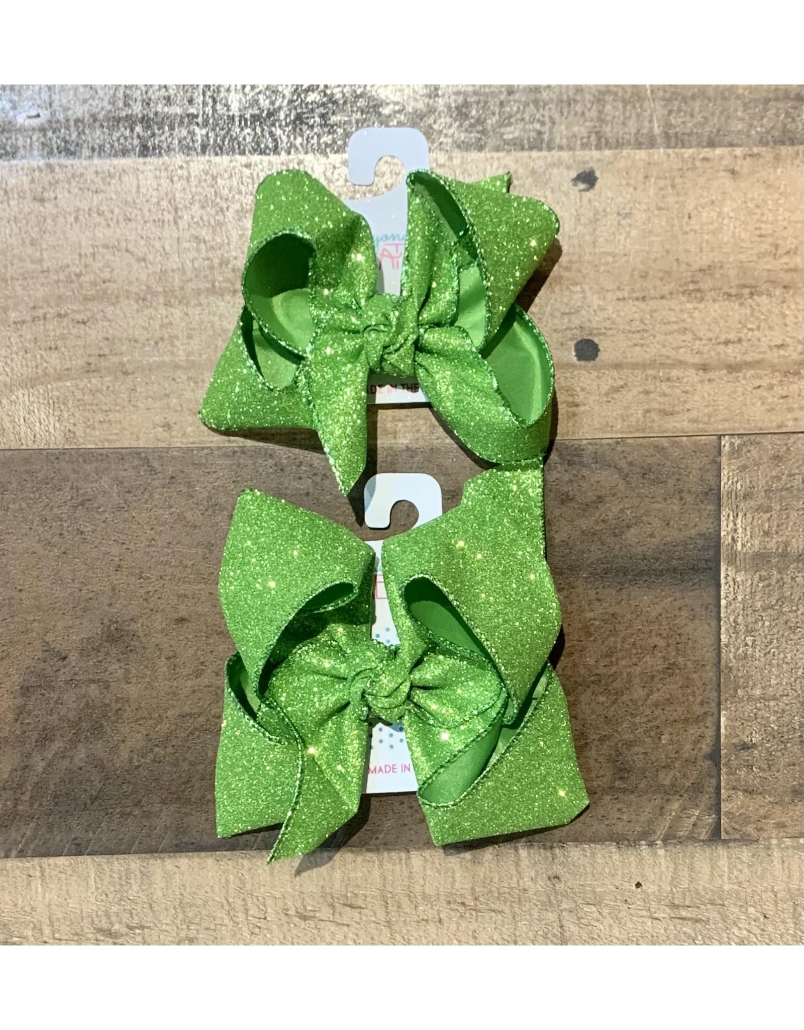 Beyond Creations Beyond Creations- Apple Green Glitter Metallic Knot Bow