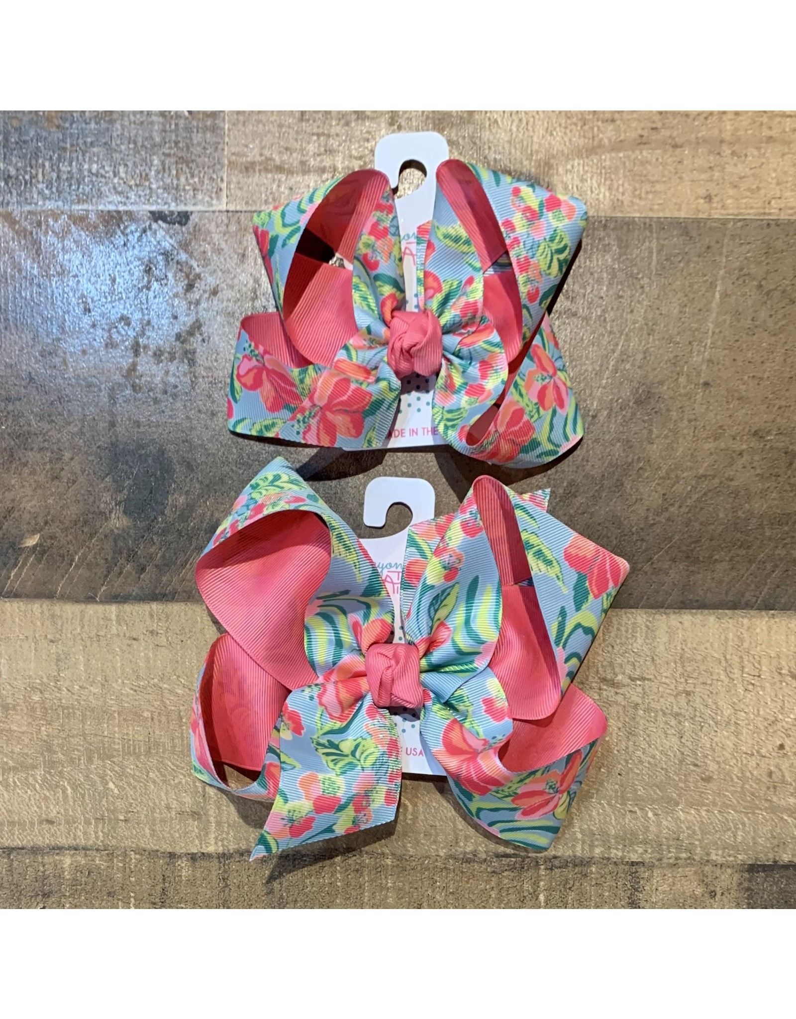 Beyond Creations Beyond Creations- Two Tone Specialty Knot Bow: Hot Pink/Mill Blue