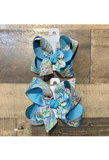 Beyond Creations Beyond Creations- Two Tone Specialty Knot Bow: Aqua/Multi Leaves