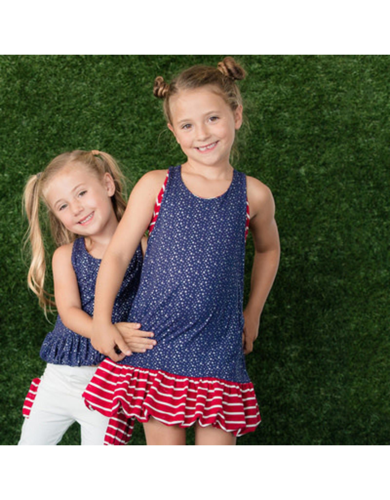 Isobella & Chloe Isobella & Chloe- Blue/Red Star Pearlette Dress