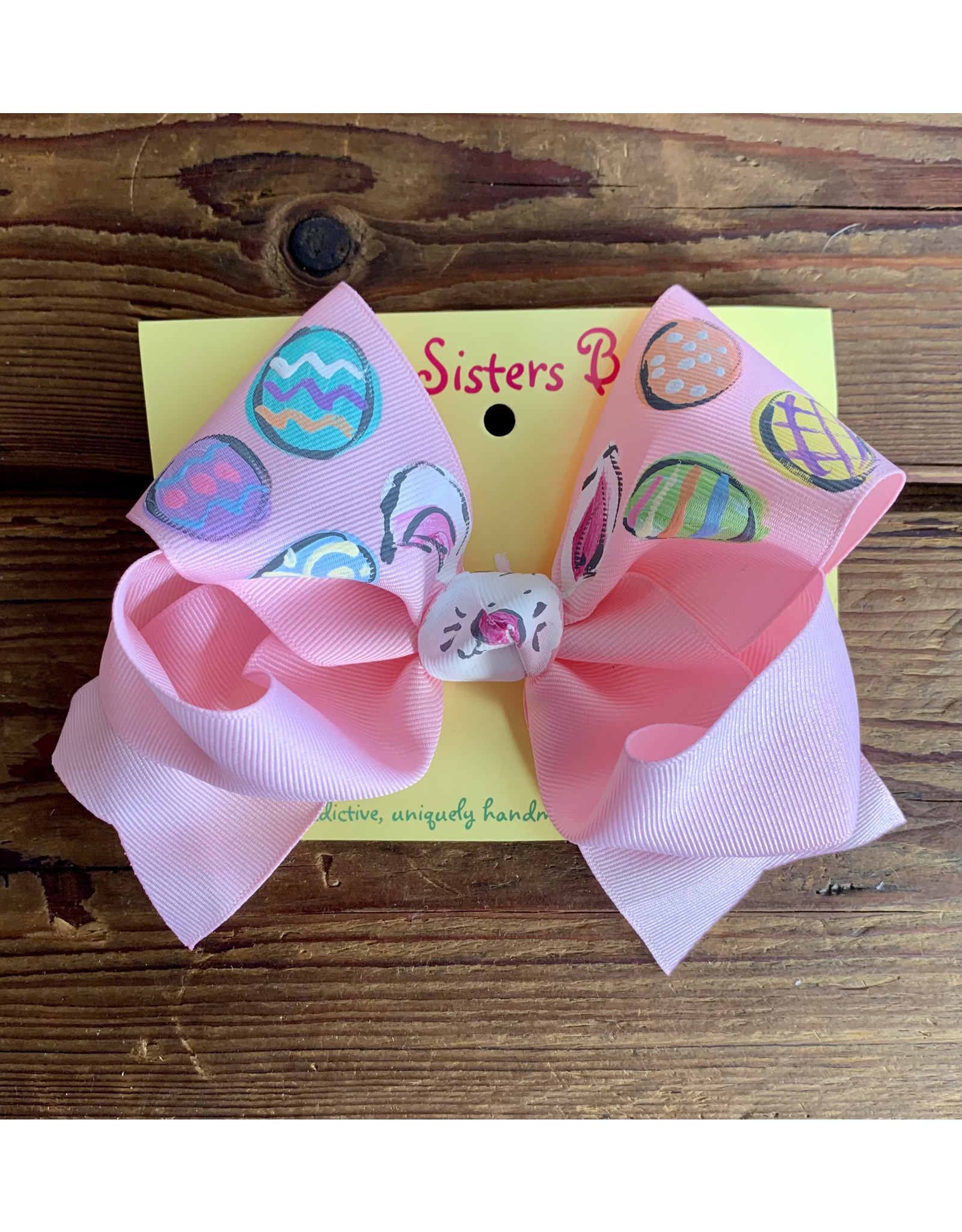 Two Sisters- Bunny Face/Pastel Eggs Baby Pink Handpainted Large Bow