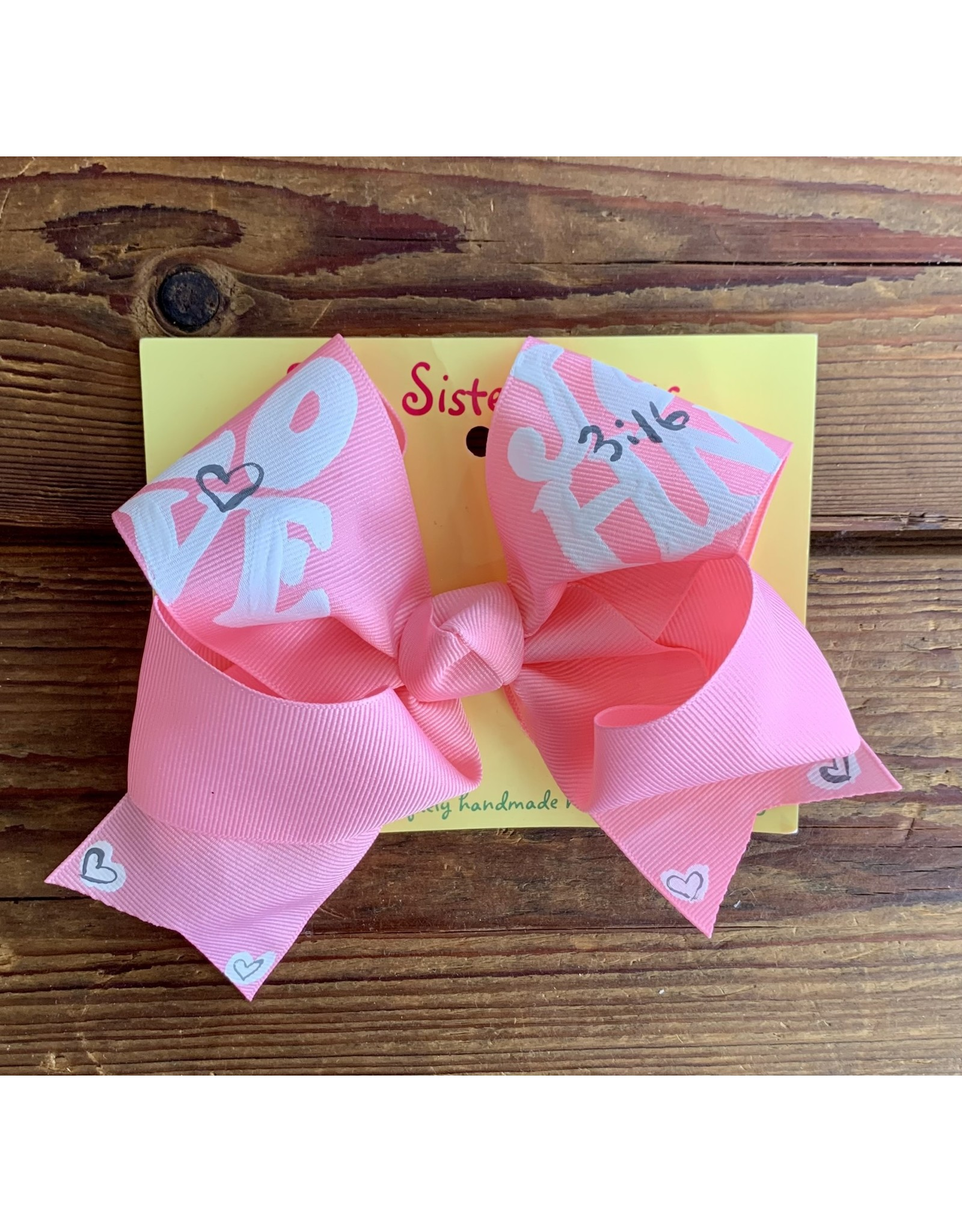 Two Sisters- Big John 3:16 Baby Pink Handpainted Large Bow