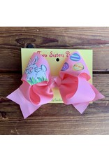 Two Sisters- Bunny Eggs Baby Pink Handpainted Large Bow