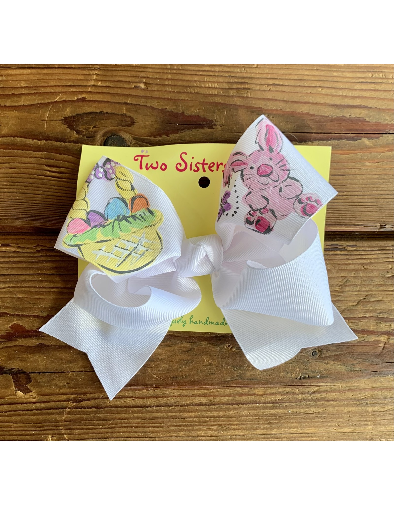 Two Sisters- Bunny Eggs Basket White Handpainted Large Bow