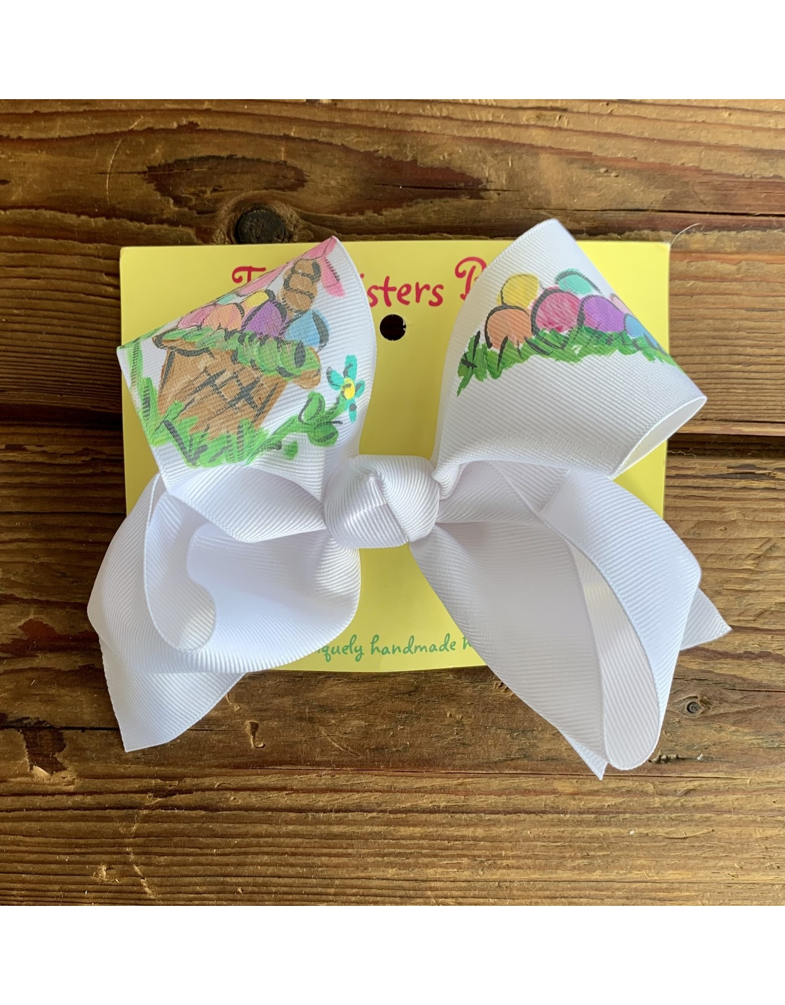 Two Sisters- Basket Eggs White Handpainted Large Bow