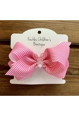 Wee Ones- Small Pink/White Stripe Bunny Bow
