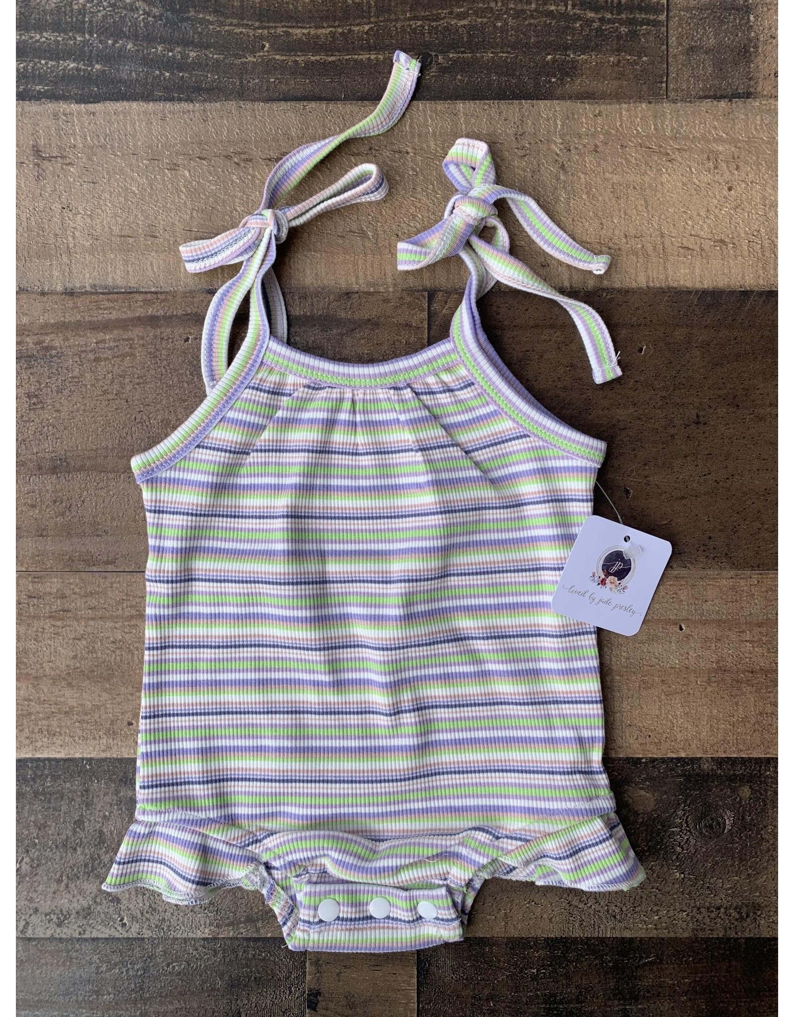 loved by Jade Presley loved by jade presley- Striped Ribbed Bodysuit: Purple/Lime
