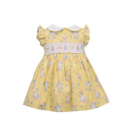 Bonnie  Jean Bonnie Baby- Yellow Flutter Sleeved Smocked Bunny Print Dress