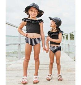 Ruffle Butts Ruffle Butts- Black & White Stripe Ruffled Tankini