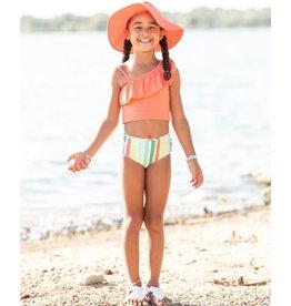 Ruffle Butts Ruffle Butts- Saltwater Stripe Coral Ruffle Tankini
