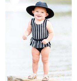 Ruffle Butts Ruffle Butts- Black & White Stripe Skirted One Piece